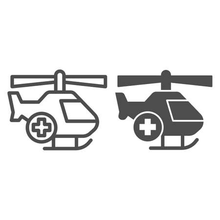 Medical helicopter line and solid icon, Medical concept, emergency transport service sign on white background, Helicopter with cross icon in outline style for mobile and web design. Vector graphics.