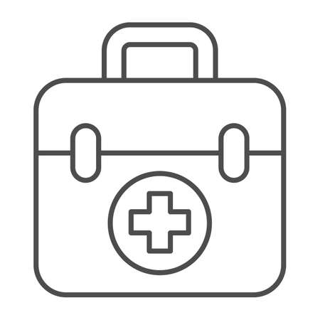 First aid kit thin line icon, Medical concept, Medical Kit sign on white background, First aid box with cross icon in outline style for mobile concept and web design. Vector graphics.