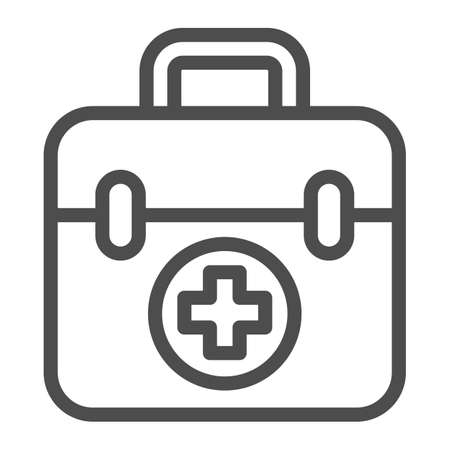 First aid kit line icon, Medical concept, Medical Kit sign on white background, First aid box with cross icon in outline style for mobile concept and web design. Vector graphics. Ilustracja
