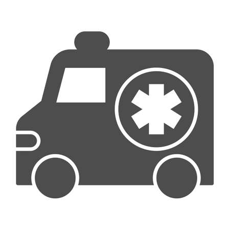 Ambulance car solid icon, Medical concept, Emergency transport sign on white background, Emergency Ambulance icon in glyph style for mobile concept and web design. Vector graphics.
