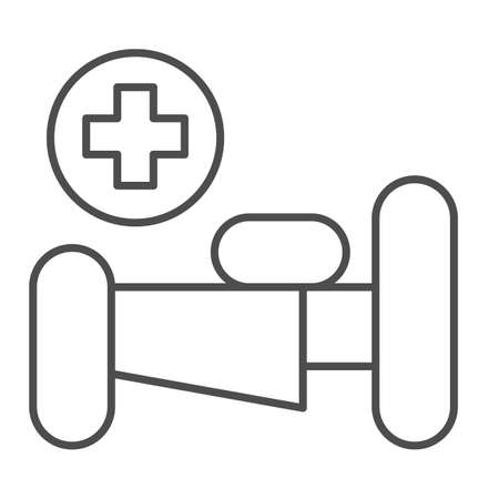 Hospital bed with cross thin line icon, Medical concept, emergency service sign on white background, hospital sign with bed and cross in outline style for mobile and web design. Vector graphics. Ilustracja