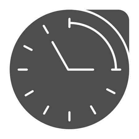 Clock with hour duration solid icon, Medical concept, medication time schedule sign on white background, Medicine time prescription icon in glyph style for mobile and web. Vector graphics.