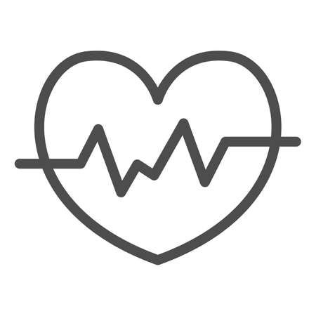 Heart rate in heart line icon, Medical concept, Heartbeat sign on white background, Life line icon in outline style for mobile concept and web design. Vector graphics. Ilustracja