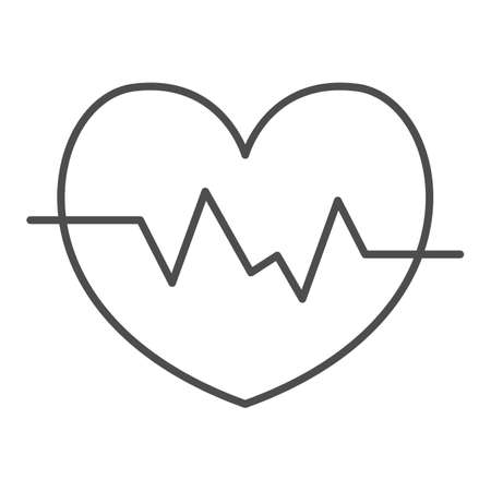 Heart rate in heart thin line icon, Medical concept, Heartbeat sign on white background, Life line icon in outline style for mobile concept and web design. Vector graphics.