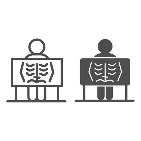 X-ray of human lungs line and solid icon, Medical concept, chest X-ray sign on white background, person with radiograph icon in outline style for mobile concept and web design. Vector graphics.