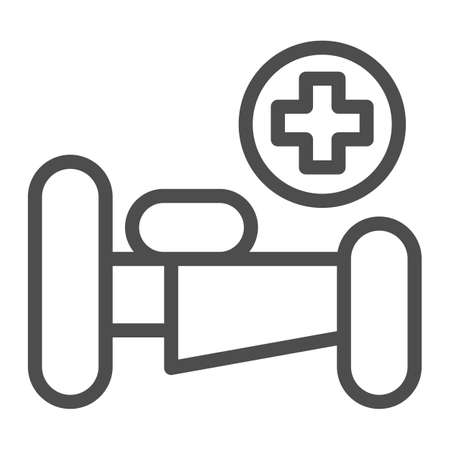Hospital bed with cross line icon, Medical concept, emergency service sign on white background, hospital sign with bed and cross in outline style for mobile and web design. Vector graphics.