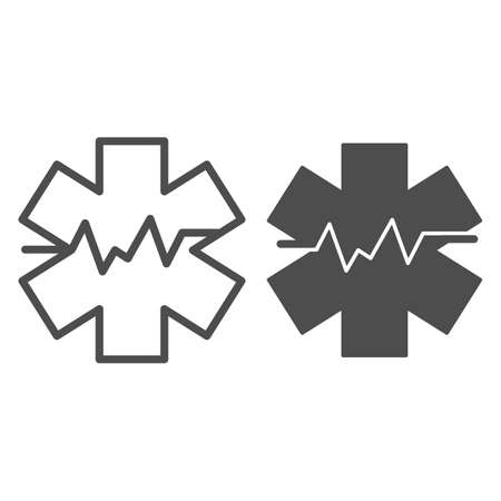 Medical sign and heart rate line and solid icon, medicine concept, star life with heart pulse sign on white background, Medical symbol of emergency icon in outline style. Vector graphics.