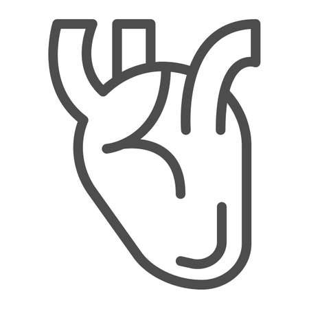 Heart line icon, Medical concept, Human organ sign on white background, Realistic medical heart icon in outline style for mobile concept and web design. Vector graphics.