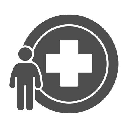 Man and medicine cross solid icon, Medical concept, Person with hospital cross sign on white background, Medical center logo icon in glyph style for mobile and web design. Vector graphics.