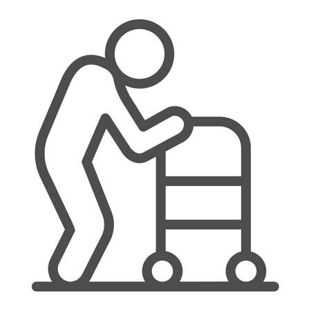 Elderly man with paddle walker line icon, Medical concept, Disabled person with walker sign on white background, Old Disabled Man icon in outline style for mobile and web. Vector graphics. Vettoriali