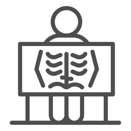 X-ray of human lungs line icon, Medical concept, chest X-ray sign on white background, person with radiograph icon in outline style for mobile concept and web design. Vector graphics.