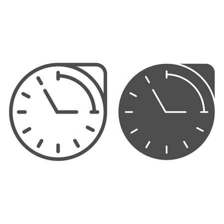 Clock with hour duration line and solid icon, Medical concept, medication time schedule sign on white background, Medicine time prescription icon in outline style for mobile and web. Vector graphics.