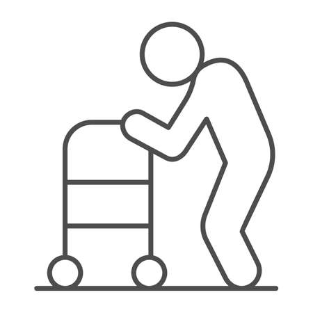 Elderly man with paddle walker thin line icon, Medical concept, Disabled person with walker sign on white background, Old Disabled Man icon in outline style for mobile and web. Vector graphics.