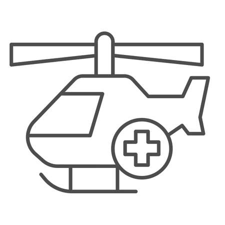Medical helicopter thin line icon, Medical concept, emergency transport service sign on white background, Helicopter with cross icon in outline style for mobile and web design. Vector graphics.
