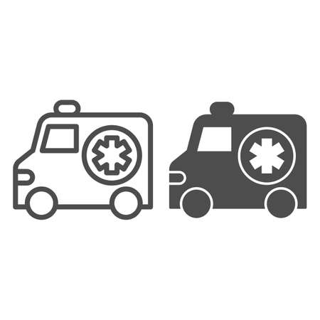Ambulance car line and solid icon, Medical concept, Emergency transport sign on white background, Emergency Ambulance icon in outline style for mobile concept and web design. Vector graphics.
