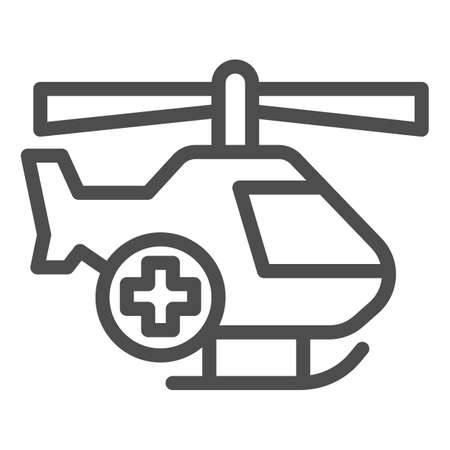 Medical helicopter line icon, Medical concept, emergency transport service sign on white background, Helicopter with cross icon in outline style for mobile and web design. Vector graphics.