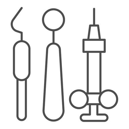 Dental instruments thin line icon, Medical concept, dentist mirror, probe and hook sign on white background, Dental tools icon in outline style for mobile concept and web design. Vector graphics. Vettoriali