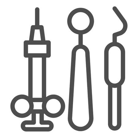 Dental instruments line icon, Medical concept, dentist mirror, probe and hook sign on white background, Dental tools icon in outline style for mobile concept and web design. Vector graphics.