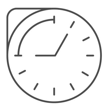 Clock with hour duration thin line icon, Medical concept, medication time schedule sign on white background, Medicine time prescription icon in outline style for mobile and web. Vector graphics.
