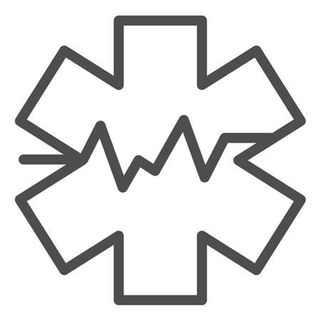 Medical sign and heart rate line icon, medicine concept, star life with heart pulse sign on white background, Medical symbol of emergency icon in outline style. Vector graphics.
