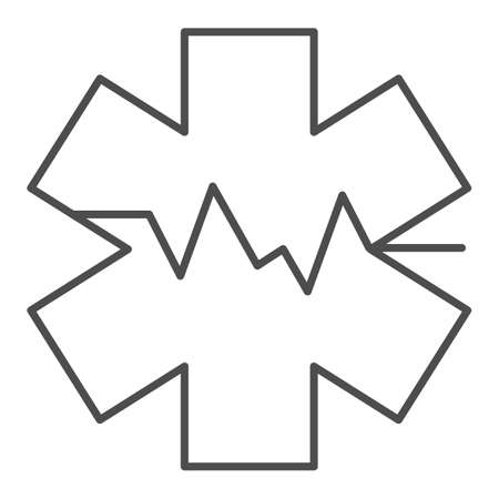 Medical sign and heart rate thin line icon, medicine concept, star life with heart pulse sign on white background, Medical symbol of emergency icon in outline style. Vector graphics.