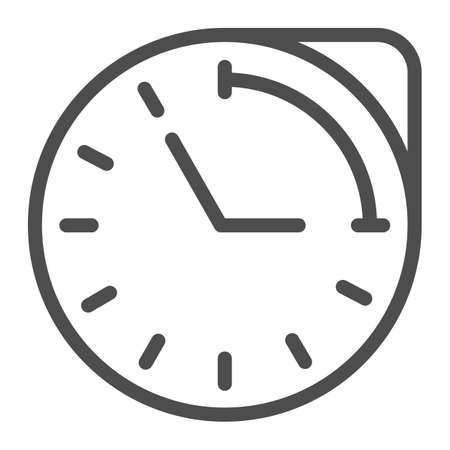 Clock with hour duration line icon, Medical concept, medication time schedule sign on white background, Medicine time prescription icon in outline style for mobile and web. Vector graphics. Vettoriali