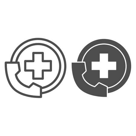 Handset and medicine cross line and solid icon, Medical concept, Emergency call sign on white background, Handset with medical icon in outline style for mobile concept and web design. Vector graphics.