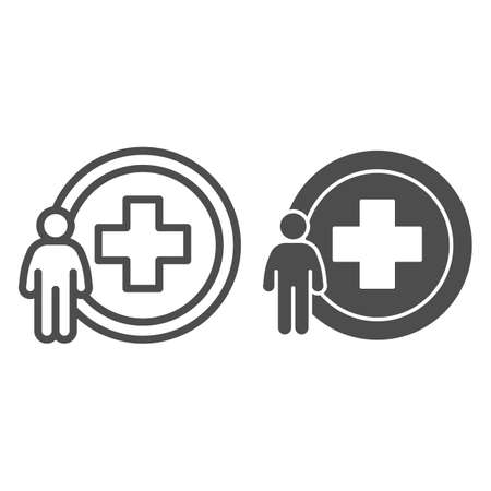Man and medicine cross line and solid icon, Medical concept, Person with hospital cross sign on white background, Medical center logo icon in outline style for mobile and web design. Vector graphics.