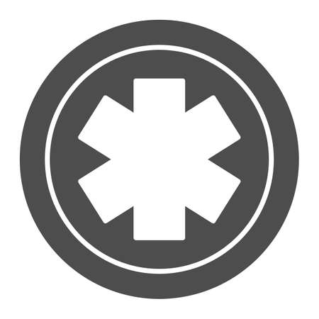 Medical star solid icon, Medical concept, Emergency star sign on white background, medical life star icon in glyph style for mobile concept and web design. Vector graphics. Ilustrace