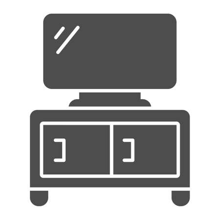 Dresser with TV solid icon, Furniture concept, home decor with plasma sign on white background, TV stand icon in glyph style for mobile concept and web design. Vector graphics. Ilustração