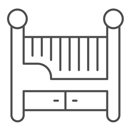 Children bed thin line icon, Furniture concept, Baby crib sign on white background, Baby cradle icon in outline style for mobile concept and web design. Vector graphics.