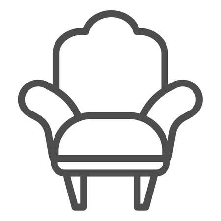 Armchair line icon, Furniture concept, comfortable chair sign on white background, Armchair with legs icon in outline style for mobile concept and web design. Vector graphics. Stock Illustratie
