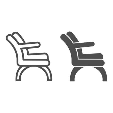 Chair with elbow rest line and solid icon, Furniture concept, Barber chair sign on white background, elegance armchair icon in outline style for mobile concept and web design. Vector graphics.