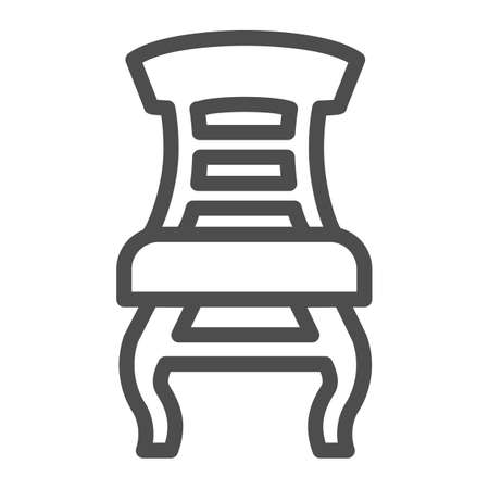 Retro chair line icon, Furniture concept, classic wooden chair sign on white background, elegance armchair icon in outline style for mobile concept and web design. Vector graphics.