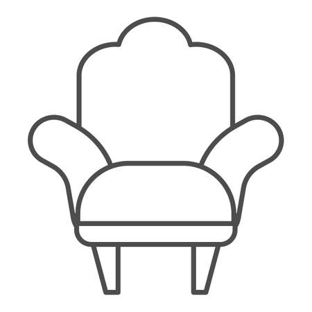 Armchair thin line icon, Furniture concept, comfortable chair sign on white background, Armchair with legs icon in outline style for mobile concept and web design. Vector graphics. Stock Illustratie
