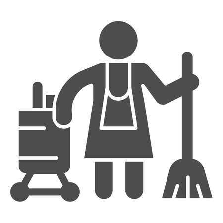 Hotel maid solid icon, Cleaning service concept, Cleaning lady sign on white background, Housemaid in uniform with equipment icon in glyph style for mobile and web design. Vector graphics. Ilustracja