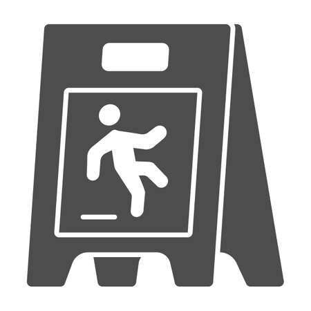 Wet floor solid icon, Cleaning service concept, caution wet floor standing sign on white background, board with falling man icon in glyph style for mobile, web design. Vector graphics.