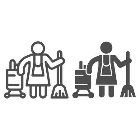 Hotel maid line and solid icon, Cleaning service concept, Cleaning lady sign on white background, Housemaid in uniform with equipment icon in outline style for mobile and web design. Vector graphics.