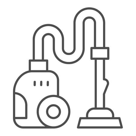 Vacuum cleaner thin line icon, Cleaning service concept, hoover sign on white background, cleaning equipment icon in outline style for mobile concept and web design. Vector graphics.