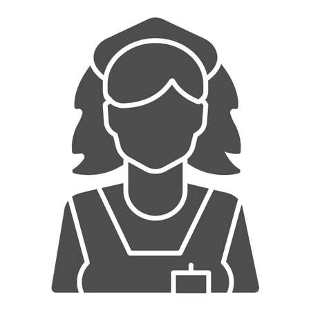 Cleaning lady solid icon, Cleaning service concept, maid sign on white background, chambermaid icon in glyph style for mobile concept and web design. Vector graphics.