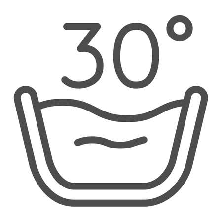 Basin of warm water line icon, laundry concept, Cold wash sign on white background, Delicate gentle 30 degrees washing symbol icon in outline style for mobile, web design. Vector graphics.