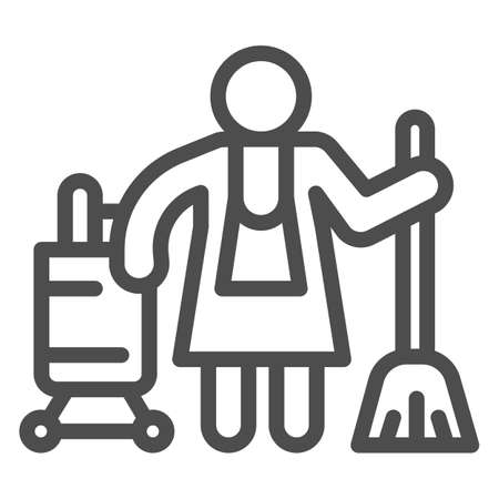 Hotel maid line icon, Cleaning service concept, Cleaning lady sign on white background, Housemaid in uniform with equipment icon in outline style for mobile and web design. Vector graphics.