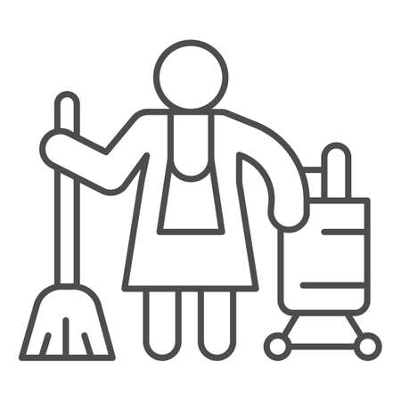 Hotel maid thin line icon, Cleaning service concept, Cleaning lady sign on white background, Housemaid in uniform with equipment icon in outline style for mobile and web design. Vector graphics.