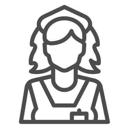 Cleaning lady line icon, Cleaning service concept, maid sign on white background, chambermaid icon in outline style for mobile concept and web design. Vector graphics. Ilustracja