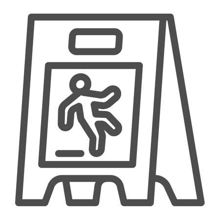 Wet floor line icon, Cleaning service concept, caution wet floor standing sign on white background, board with falling man icon in outline style for mobile, web design. Vector graphics.