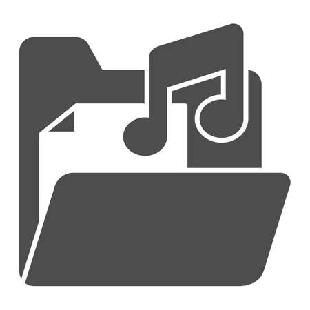 Folder with audio files solid icon, Sound design concept, Music folder sign on white background, File with music note icon in glyph style for mobile concept and web design. Vector graphics. Stock Illustratie