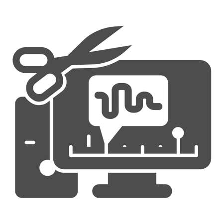 Cut audio in computer solid icon, Sound design concept, Sound editor software sign on white background, computer with audio program and scissors icon in glyph style. Vector graphics. Иллюстрация