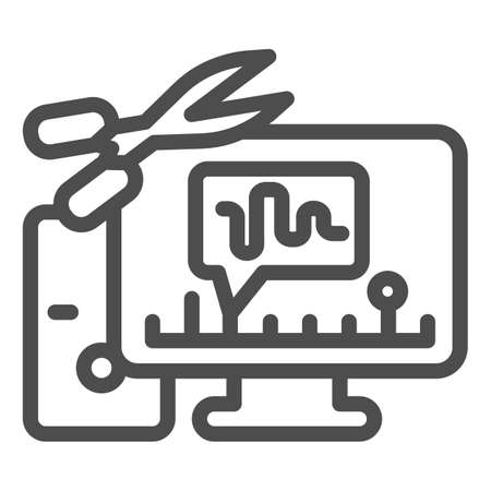 Cut audio in computer line icon, Sound design concept, Sound editor software sign on white background, computer with audio program and scissors icon in outline style. Vector graphics.