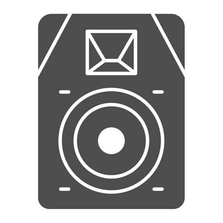 Audio speaker solid icon, Sound design concept, sound loud speaker sign on white background, subwoofer music system icon in glyph style for mobile concept and web design. Vector graphics.