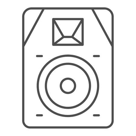 Audio speaker thin line icon, Sound design concept, sound loud speaker sign on white background, subwoofer music system icon in outline style for mobile concept and web design. Vector graphics.